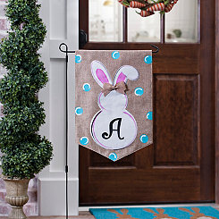 Burlap Bunny Polka Dot Monogram A Flag Set