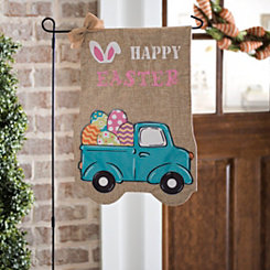 Happy Easter Truck Burlap Flag Set