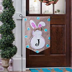 Burlap Bunny Polka Dot Monogram J Flag Set