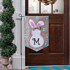 Burlap Bunny Polka Dot Monogram M Flag Set
