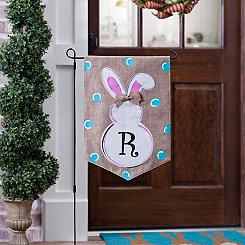 Burlap Bunny Polka Dot Monogram R Flag Set