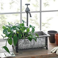 Rustic Metal Faucet Planter