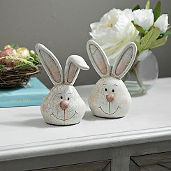 Easter Bunny Head Statues, Set of 2