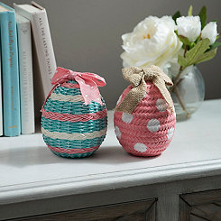 Patterned Mini Wicker Egg Figurines, Set of 2