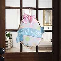 Happy Easter Polka Dot Egg Burlap Wall Hanger
