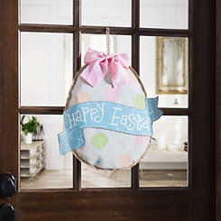Happy Easter Polka Dot Egg Burlap Wall Hanger