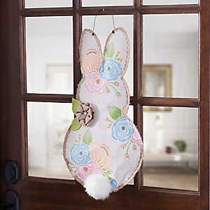Floral Bunny Burlap Wall Hanger