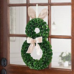 Wood Curl Bunny Wreath