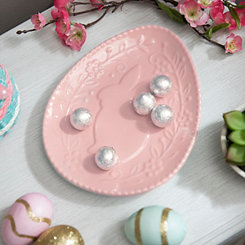 Pink Embossed Ceramic Bunny Plate