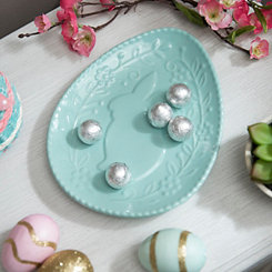 Turquoise Embossed Ceramic Bunny Plate