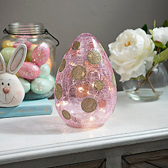 Pink Pre-Lit Polka Dotted Glitter Egg