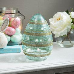 Turquoise Pre-Lit Striped Glitter Egg