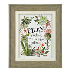 Pray More Today Cacti Framed Art Print