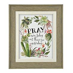 Pray More Today Cacti Framed Art Print