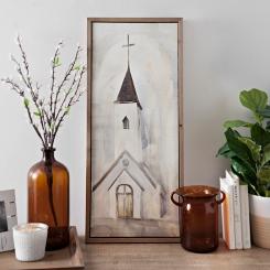 Ivory Church Framed Canvas Art Print