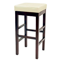 Beige Valencia Backless Leather Counter Stool