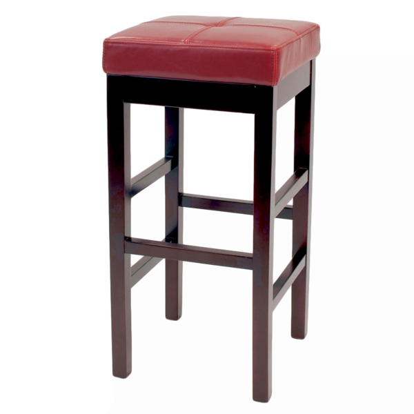 red valencia backless leather counter stool - Leather Counter Stools