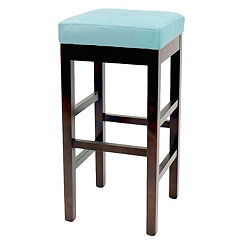 Blue Valencia Backless Leather Counter Stool