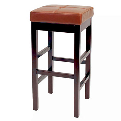 Cognac Valencia Backless Leather Counter Stool