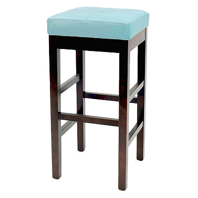 Blue Valencia Backless Leather Bar Stool
