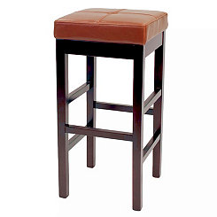 Cognac Valencia Backless Leather Bar Stool