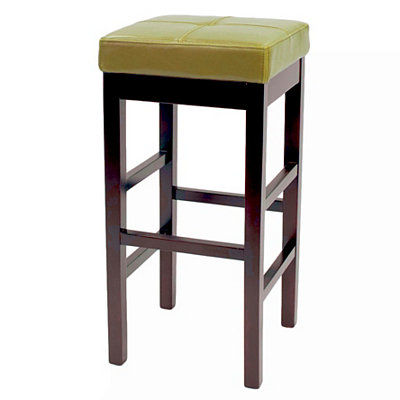 Green Valencia Backless Leather Bar Stool
