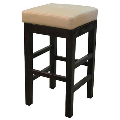 Taupe Valencia Backless Leather Bar Stool