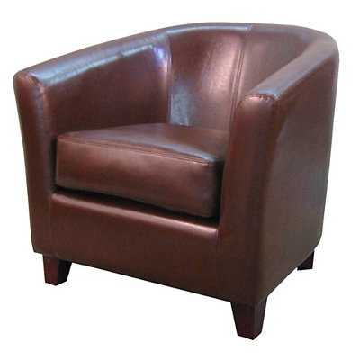 Hayden Brown Bonded Leather Tub Chair