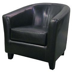 Hayden Black Bonded Leather Tub Chair