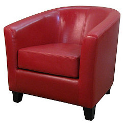 Hayden Red Bonded Leather Tub Chair