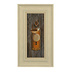 Bird on Doorknob Framed Art Print