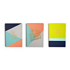 Bright Geometric Spiral Notebooks