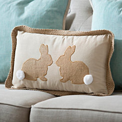 Natural Linen Bunnies Pillow
