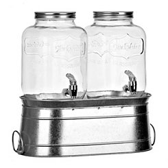 Galvanized Bucket Beverage Dispenser, Set of 3