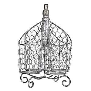 Silver Chicken Wire Sectioned Utensil Caddy
