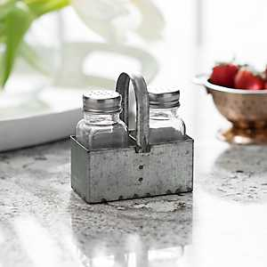 Galvanized Metal Salt and Pepper Shaker Set