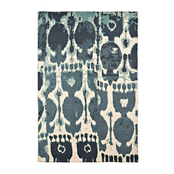 Printed Blue Jute Area Rug, 5x7