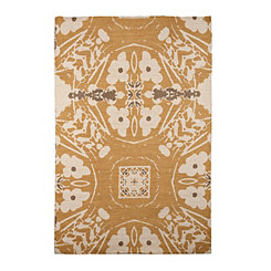 Printed Yellow Flower Jute Area Rug, 5x7