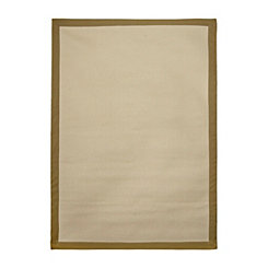 Beige Bordered Jute Diamond Area Rug, 5x7