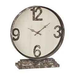 Distressed Cream Metal Table Clock