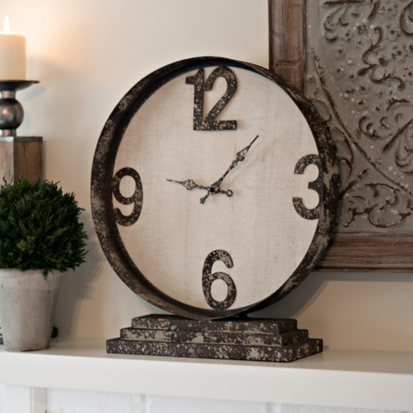 distressed cream metal table clock