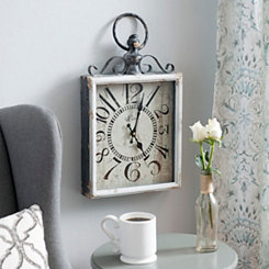 Distressed White Rectangle Clock with Handle