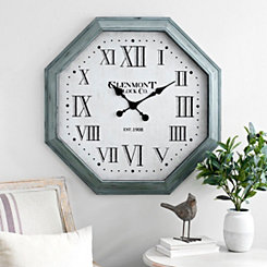 Blue Octagon Wall Clock