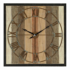 Square Wood Panel Wall Clock