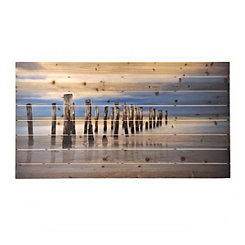 Low Tide Dock Wooden Art Print