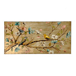 Birds on Bloom Canvas Art Print