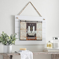 Barn Door Bathroom Framed Art Print