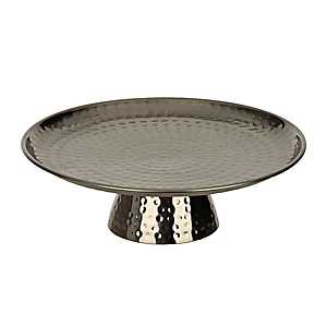 Nickel Hammered Tin Cake Stand