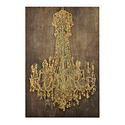 Turquoise Chandelier Wooden Art Print