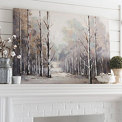 Gray Forest Landscape Canvas Art Print